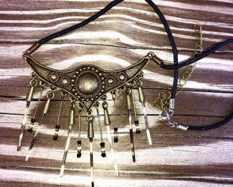 Medium Brass Collar with Spines & Beads
