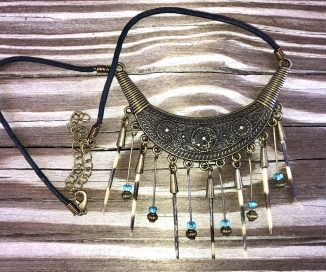 Large Brass Collar with Spines & Beads